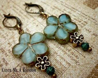 Blue flower earrings, floral dangle earrings, Czech glass earrings, UK Jewellery, stocking filler, gift floral boho earrings, casual chic