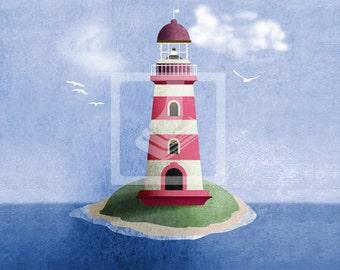 Maritime Nautical Pink Lighthouse Wall Art Room Decor Print for Nursey, Big Kid Girl or Boy, Office, Kitchen, Living Room, Bedroom Artwork