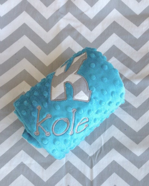 Custom Chevron and Minky Baby Blanket with personalization