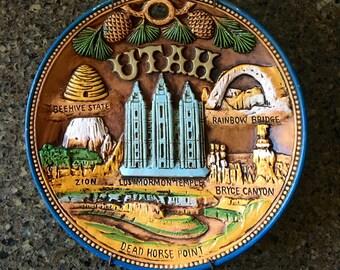 Utah Plate, Souvenir, Retro, Kitschy, Raised Relief of Utah Attractions, Plate Hanger