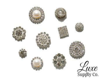 SAMPLE PACK - Set of 10 Assorted Metal Rhinestone Embellishments - *Random Assortment* of Most Popular Styles - NO loops - Wedding Supplies