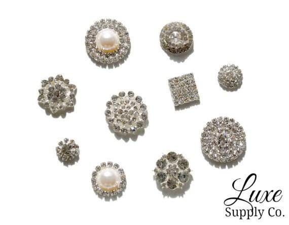 SAMPLE PACK - Set of 10 Assorted Metal Rhinestone Embellishments - *Random Assortment* of Most Popular Styles - NO loops - Wedding Supplies