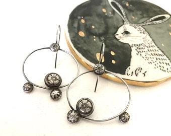 Sterling Silver Pebble Earrings Flower Hand Stamped Cast Metalsmith Hoop Dangle Drop  Metalwork Jewelry Modern Vintage Chunky Floral Oval