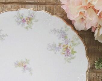 "Beautiful Limoges Lilacs 12"" Chop Plate France Depost Ahrenfeldt Cake Plate Round Platter Ca 1900s"