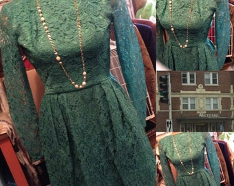 Vintage 60s green lace mini dress size 4 free domestic shipping perfect for St Patrick's Day