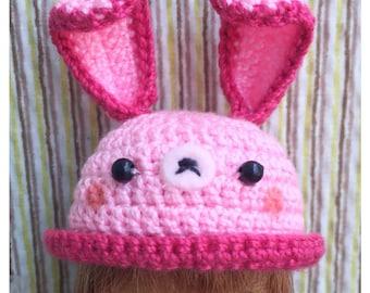 "Doll Hat for Lati White & Petite Blythe : ""Happy Pink Rabbit Hat"" (Crochet Hat)"