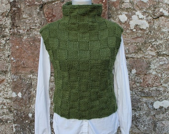 KNITTING PATTERN - Green sweater vest/slipover, sweater pattern - listing 73