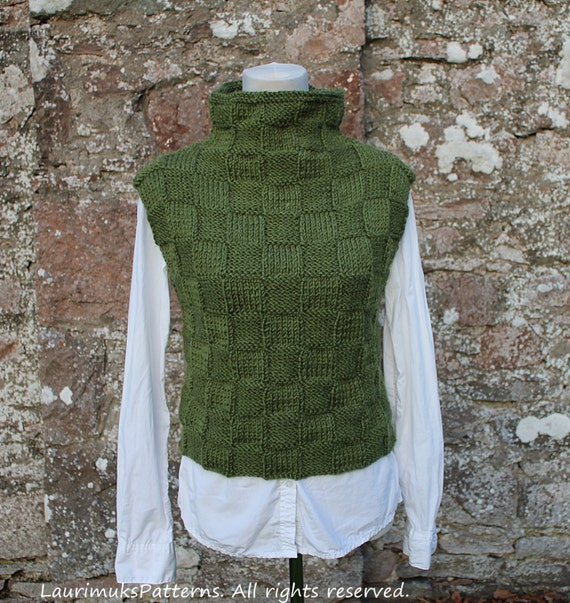 KNITTING PATTERN Green sweater vest/slipover sweater