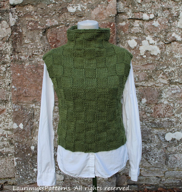 Knit Sweater Vest Pattern : KNITTING PATTERN Green sweater vest/slipover sweater