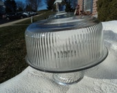 Cake stand by Fostoria in clear glass