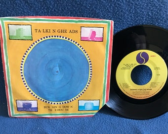 """RARE, Vintage, Talking Heads - """"Burning Down The House / I Get Wild"""", 7"""" 45 RPM Vinyl Single, Speaking In Tongues, Post Punk, New Wave"""