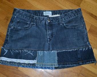 Upcycled jean Hippie skirt....Aeropostale....size 7....