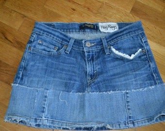 Upcycled Jean Hippie skirt....Levi.....Size 7...
