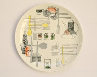 Mid Century Fiesta Plate with Kitchenware Design