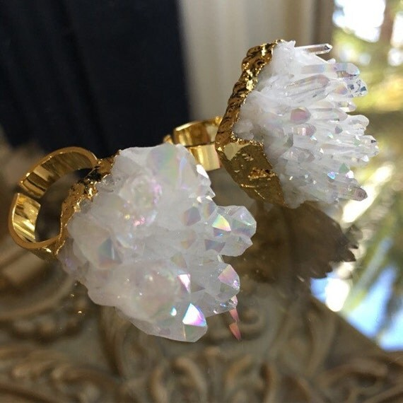 Quartz Druzy Rings, Statement rings, boho style