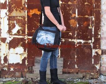 Black Canvas Messenger Bag Cross Body Grey Dapple Horse Equine Equestrian  A819