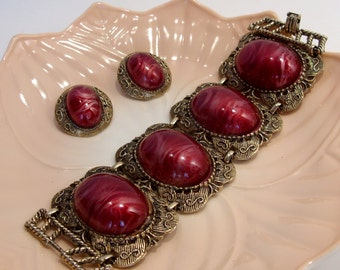 Large Rose Red Cabochon Wide Link Bracelet and Clip Earrings