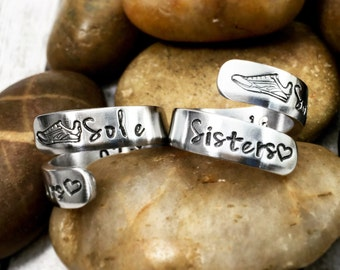 Sole Sisters Rings - Running Buddies - Running Friends - Best Friend Rings - Running Jewelry - Friendship Rings - Hand Stamped Wrap Rings