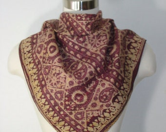 Vintage Burgundy Tan Boho Silk Scarf - Square Indian Scarves - Womens Accessories