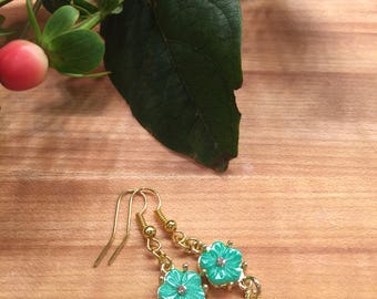 Turquoise Resin Flower Earrings, Gold-Tone, Rhinestone Center. Hook Ear Wire, Free Shipping, USA, #117