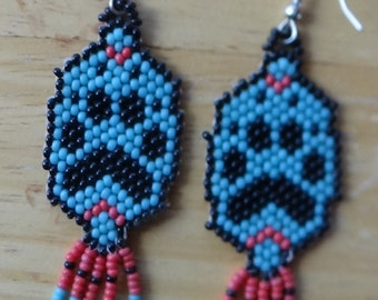 LONE WOLF Paw Print design- Hand-beaded earrings