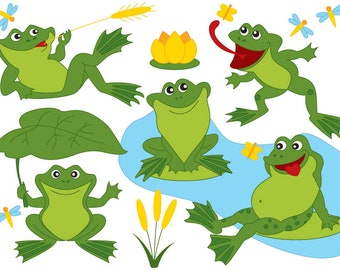 50% OFF SALE Frog Clipart - Digital Vector Frog, Green, Frogs, Pond, Lily, Dragonfly, Frog Clip Art