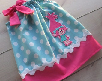 New Super Cute Poppy Troll Pillowcase Dress/Aqua Dot and Hot Pink