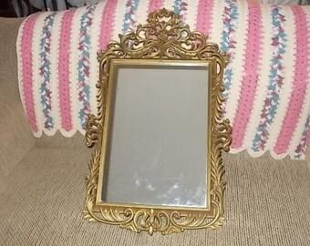 Mirror, Oval Wall mirror, Vintage Mirror, Gold Framed Mirror, Vintage Large Ornate Oval Mirror Syroco Plastic, Hollywood Regency, Home Deco
