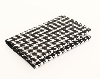 Fabric card holder/ mini wallet /business card case/ gift card case men women - black and white houndstooth