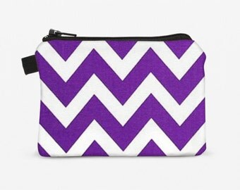 Women's Coin Purse, Purple Zipper Pouch, Small Padded Credit Card Wallet - purple and white chevron