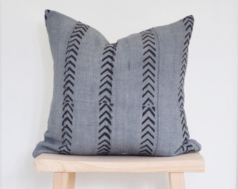 blue grey african mudcloth with black arrows pattern