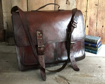English Brown Leather Belted Briefcase, Satchel, Attache Case, 1940s
