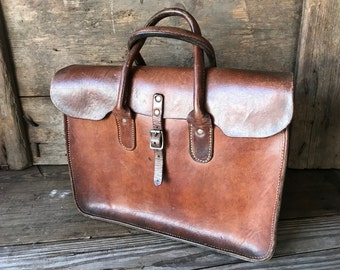 1940s English Brown Leather Handbag, Briefcase Style, Handcrafted in England, Attache, Portfolio
