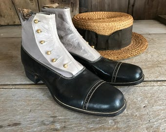 Edwardian Leather Spats, Goodyear Welt, Ankle Boots, Button Up, Two Tone Gray Black, New Old Stock, Goodyear