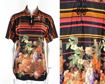 70s 80s Floral Photographic Print Top Blouse Polo Stripes Striped Groovy Pretty Disco Fun Funky Orange Red Black Size Small Frogging Darted