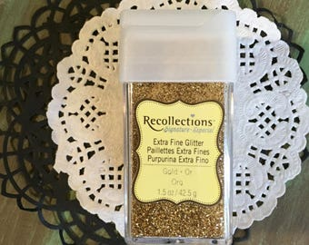 Extra Fine Gold Glitter 4.25g 1.5 oz. Great for Mixed Media, Altered Arts, Journals, Crafts, Tags, Cards