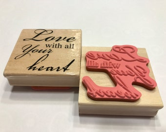 Love with all your Heart rubber stamp, 55 mm (SB1/2)
