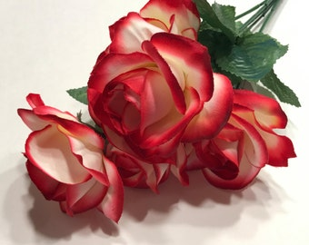 6 bloom red edged rose boquet, about 13 inches tall (BR)