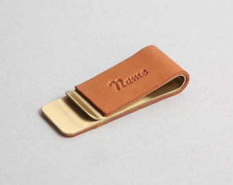 Copper Money Clip with Tan Leather, Fathers Day Gift, Personalized Gift for Him, Gift for Husband, Free Shipping
