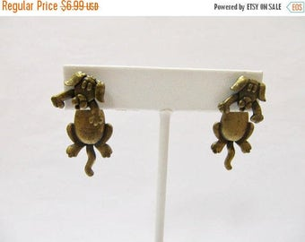 On Sale JJ Distressed Gold Tone Dog Earrings Item K # 1544