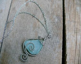 Wire wrapped pendant, sea glass pendant, sea glass jewelry, silver copper wire, aqua sea foam, Birthday gift, beach glass pendant, chain