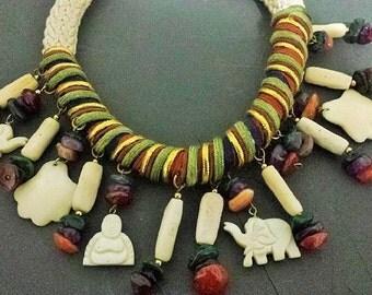 Antique Asian Bone Buddhas and Elephants with Gemstone Choker Necklace