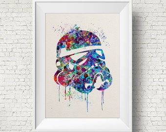 Storm Trooper 1 Star Wars Inspired Watercolor Print Painting Wall Art Giclee Anime Decor Geek Nerd Art Home Decor Wall Hanging