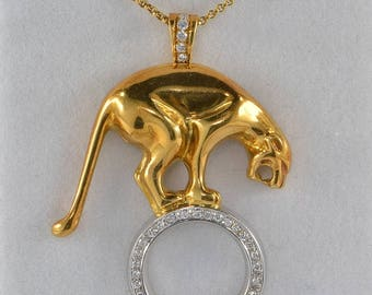 Iconic large Panther diamond pendant