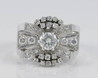 Magnificent 1.45 Ct diamond Art Deco bow ring