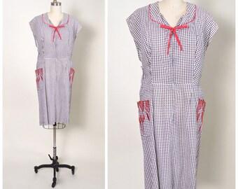 Vintage 1940s 40s Cotton Dress Plus Size Large XL