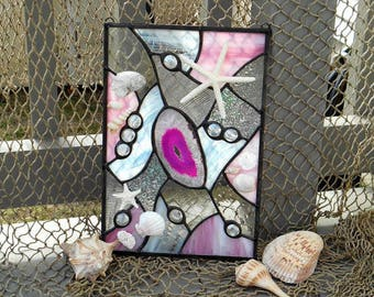 Shades of Pink Stained Glass Sun catcher/ Panel adorned with Shells, Starfish and Sand Dollar