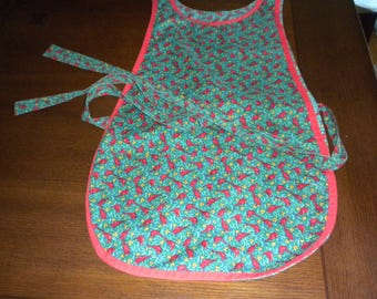 vintage apron true green with red birds cardinals leaves tiny gold pinecones red piping cobbler pockets
