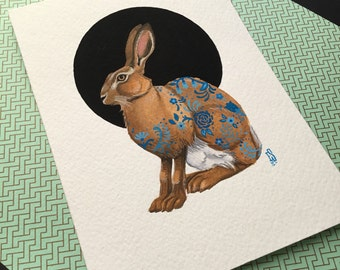 Hare painting by Emily Shoichet