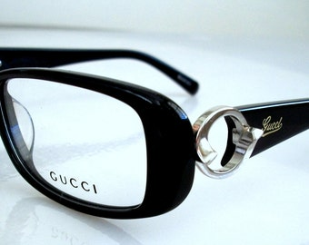 Vintage Authentic Gucci Black Gilver  Logo Eyeglasses, GG3030 801 135mm, Made in Italy Medium size, for women, Gucci case, Mint.